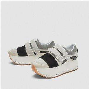 Zara Gray Black Platform Velcro Sneakers 38